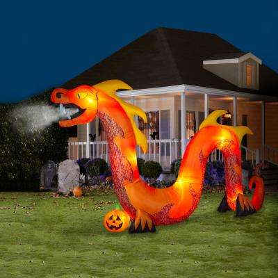 9 ft. Pre Lit Inflatable Fog Effect-Orange Serpent Air-Blown