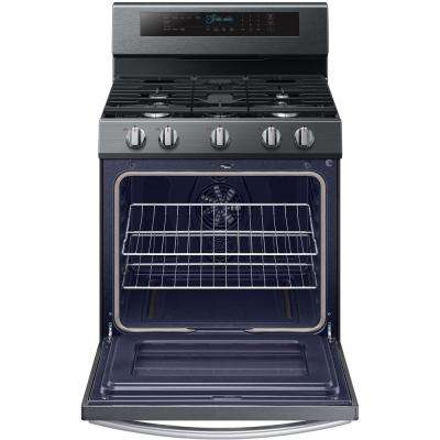 30 in. 5.8 cu. ft. Gas Range with True Convection Oven in Fingerprint Resistant Black Stainless