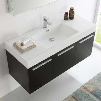 Vista 48 in. Vanity in Black with Acrylic Vanity Top in White with White Basin and Mirrored Medicine Cabinet