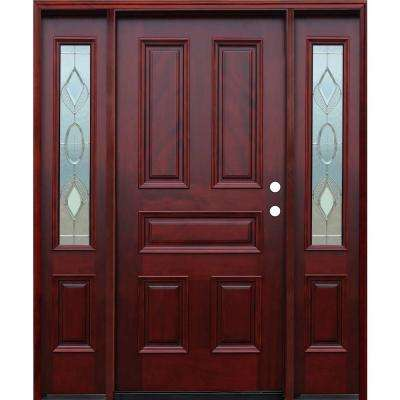 Strathmore Traditional 5-Panel Stained Mahogany Wood Prehung Front Door w/6in Wall Series & 14in Sidelites