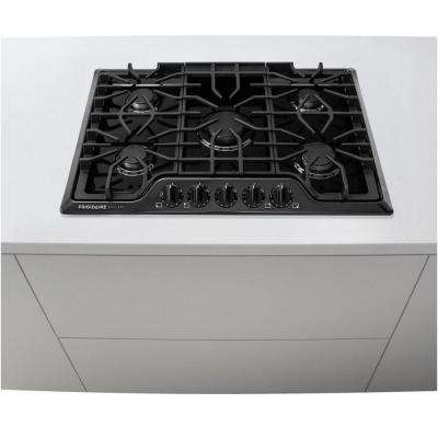 30 in. Gas Cooktop in Black with 5 Burners