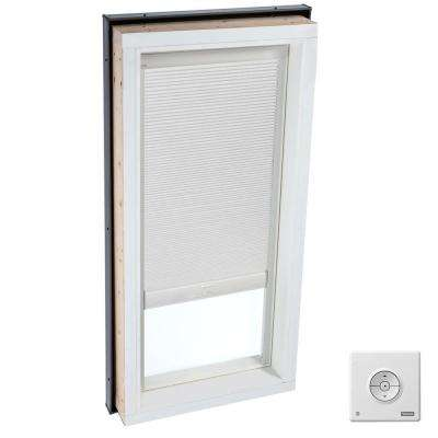 22-1/2 in. x 46-1/2 in. Fixed Curb-Mount Skylight with Laminated Low-E3 Glass and White Room Darkening Blind