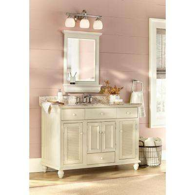 Cottage 49 in. W x 22 in. D Vanity in Antique White with Stone Effects Vanity Top in Tuscan Sun