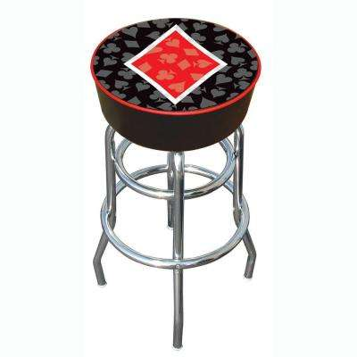 Four Aces Diamond 31 in. Chrome Swivel Cushioned Bar Stool