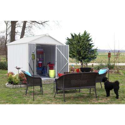 8 ft. W x 7 ft. H x 7 ft. D EZEE Galvanized Steel High Gable Shed in Cream with Snap-IT Quick Assembly and Swing Door