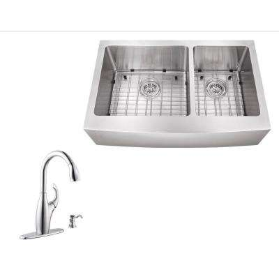 All-in-One Farmhouse Apron Front Stainless Steel 31 in. Double Bowl Kitchen Sink with Faucet