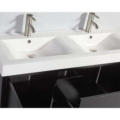 Bergamo 48 in. W x 18 in. D x 36 in. H Double Vanity in Espresso with Acrylic Vanity Top in White with White Basin