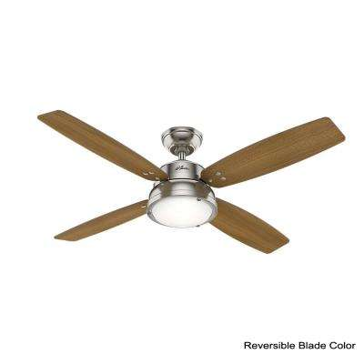Wingate 52 in. LED Indoor Brushed Nickel Ceiling Fan with Light Kit and Handheld Remote Control