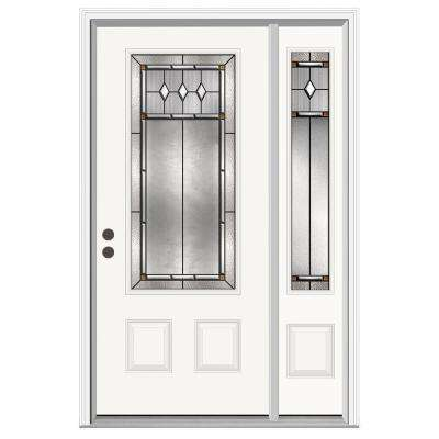 50.125 in. x 81.75 in. 3/4 Lite Mission Prairie Primed Steel Prehung Right-Hand Inswing Front Door w/ Right Sidelite