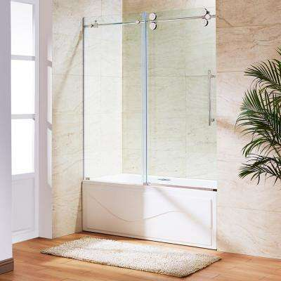 Elan 60 in. x 66 in. Frameless Sliding Tub Door in Chrome with Clear Glass
