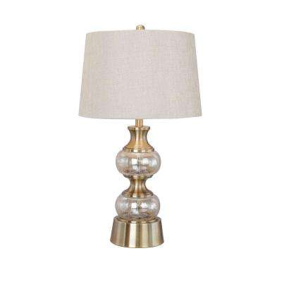 29.5 in. Stacked Champagne Glass Table Lamp with Antique Brass Metal Accents