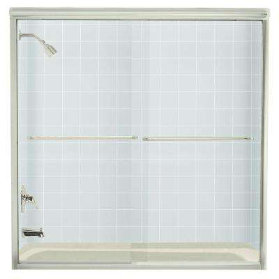 Finesse 59-5/8 in. x 58-5/16 in. Frameless Sliding Tub Door in Nickel with Clear Glass Texture
