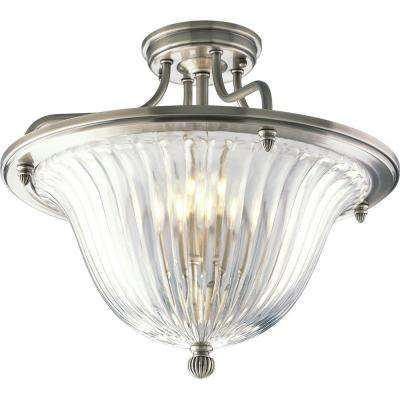 Roxbury Collection 3-Light Classic Silver Semi-Flush Mount Light
