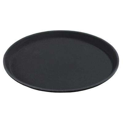 11 in. Diameter Fiberglass Round Tray with Rubber Liner in Black (Case of 12)