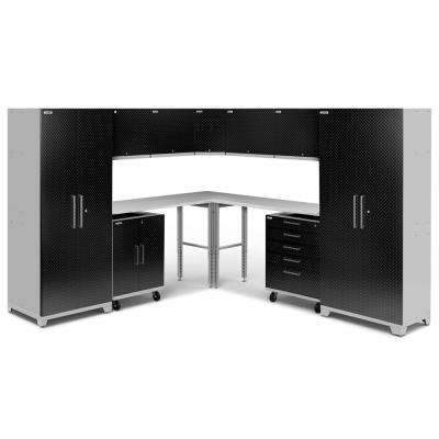 Performance Plus Diamond Plate 2.0 80 in. H x 213 in. W x 24 in. D Garage Cabinet Set in Black (12-Piece)