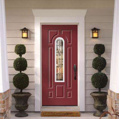 Providence Center Arch Painted Steel Prehung Front Door with Brickmold