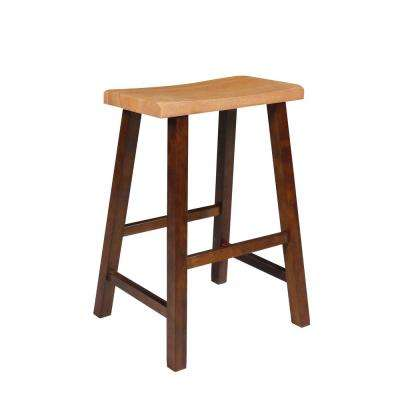 "24"" High Saddle Seat Counter Stool in Cinnamon & Espresso"