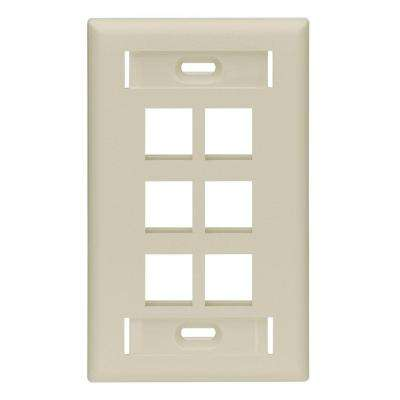 1-Gang Quickport Standard Size 6-Port Wallplate with ID Windows, Ivory
