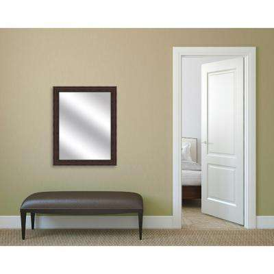32.375 in. x 26.375 in. Brown Framed Mirror