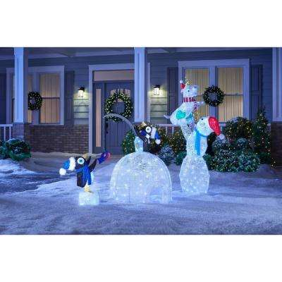 Icicle Shimmer 48 in. Christmas LED Lighted Tinsel and Acrylic Igloo with Fishing Penguins