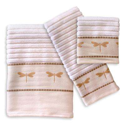Dragonfly 3-Piece Cotton Jacquard Embroiderery Bath Towel Set in Tan and Natural