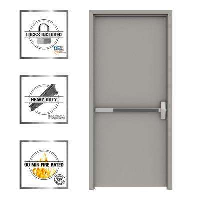 Gray Flush Exit Fire Proof Steel Prehung Commercial Door with Welded Frame