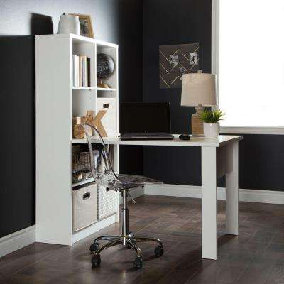 Annexe Straight Laminate Particleboard Computer Desk with Chair in Pure White