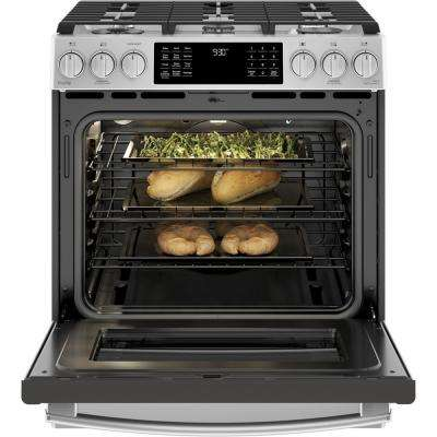 Profile 5.6 cu. ft. Smart Slide-In Gas Range with Self-Cleaning True Convection Oven and WiFi in Stainless Steel
