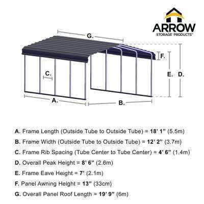 12 ft. W x 20 ft. D Eggshell Galvanized Steel Carport, Car Canopy and Shelter