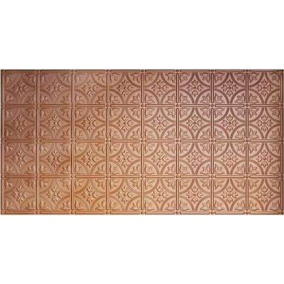 Dimensions Faux 2 ft. x 4 ft. Glue-up Tin Style Copper Ceiling Tile for Surface Mount