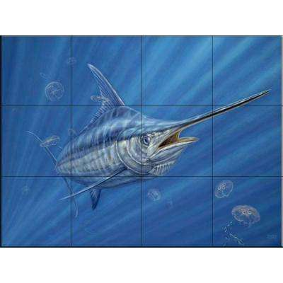 Out of the Blue 24 in. x 18 in. Ceramic Mural Wall Tile