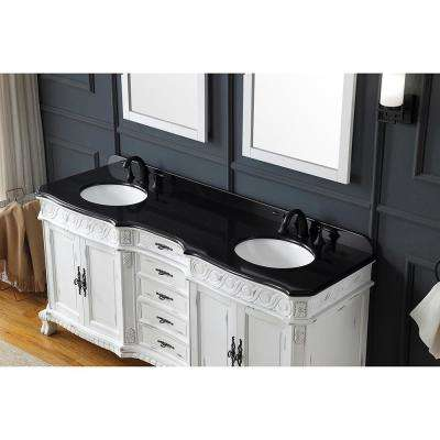 Thetford 72 in. W Bath Vanity in Antique White and Brushed Gold with Granite Vanity Top in Black with White Basin
