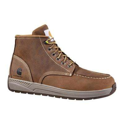 Men's Brown Leather Lightweight Wedge NWP Soft Toe Casual Work Boot