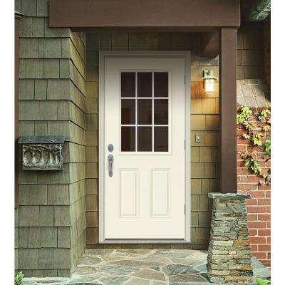 32 in. x 80 in. 9 Lite Vanilla Painted Steel Prehung Left-Hand Outswing Front Door w/Brickmould