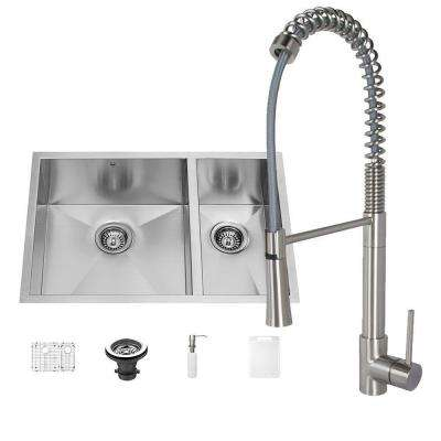 All-in-One Undermount Stainless Steel 29 in. 0-Hole Kitchen Sink and Laurelton Stainless Steel Faucet Set
