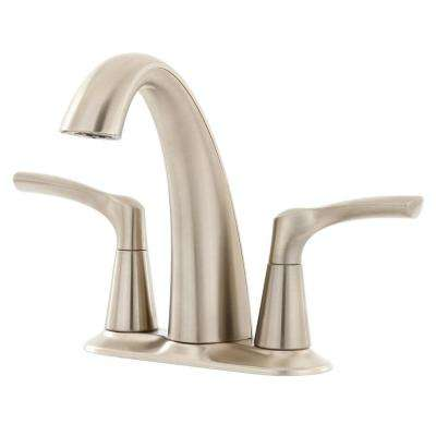 Mistos 4 in. Centerset 2-Handle Water-Saving Bathroom Faucet in Vibrant Brushed Nickel