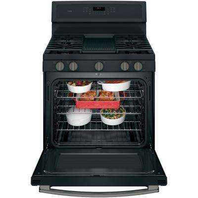 Profile 30 in. 5.6 cu. ft. Gas Range with Self-Cleaning Convection Oven in Black Slate, Fingerprint Resistant