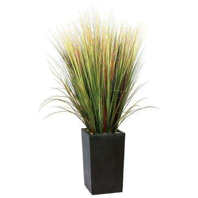 60 in. Tall High End Realistic Silk Grass Floor Plant with Contemporary Planter