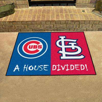 MLB Cubs/Cardinals House Divided Blue 3 ft. x 4 ft. Area Rug