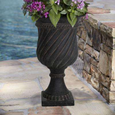 16.25 in. x 26.5 in. Cast Stone Swirl Urn in Aged Charcoal