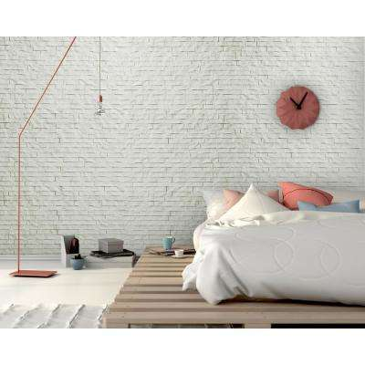 """24"""" x 24"""" Ledge Stone Decorative Vinyl Wall Paneling in White (9-Pieces)"""