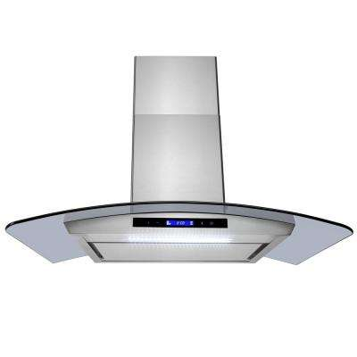 36 in. Convertible Kitchen Wall Mount Range Hood in Stainless Steel with Tempered Glass, LEDs and Touch Control