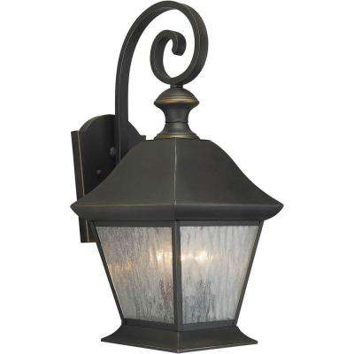 3-Light Outdoor Royal Bronze Wall Lantern with Clear Seeded Glass