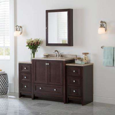 Delridge Bath Suite with 31 in. W Bathroom Vanity, Vanity Top, and 2 Linen Towers in Chocolate