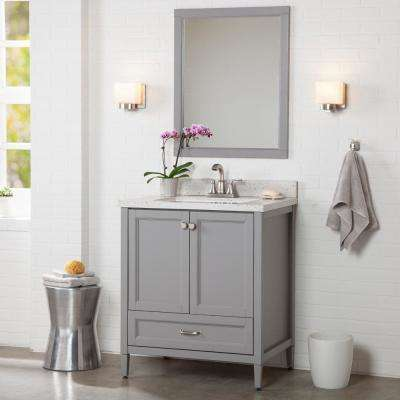 Claxby 31 in. W x 22 in. D Bath Vanity in Sterling Gray with Solid Surface Vanity Top in Silver Ash with White Sink