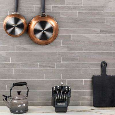 Essential Sandstone Ash 12 in. x 24 in. 10mm Matte Porcelain Floor and Wall Mosaic Tile (6 pieces / 11.62 sq. ft. / box)