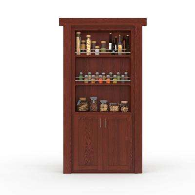32 in. x 80 in. Flush Mount Assembled Forward Pantry Door Oak Cherry Stained Right-Hand Outswing