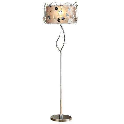 62 in. Silver Floor Lamp with Vine Detailing