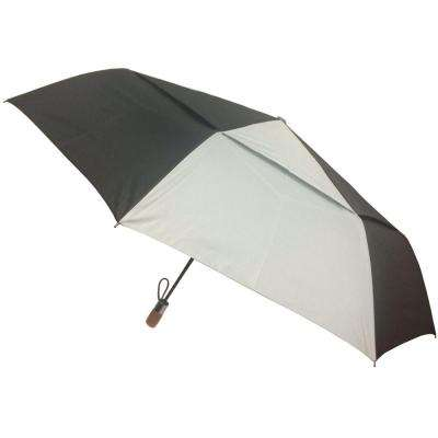 54 in. Arc Vented Canopy 3 Sectional Telescopic Windguard Oversized Auto Open Auto Close Umbrella in Black/Grey