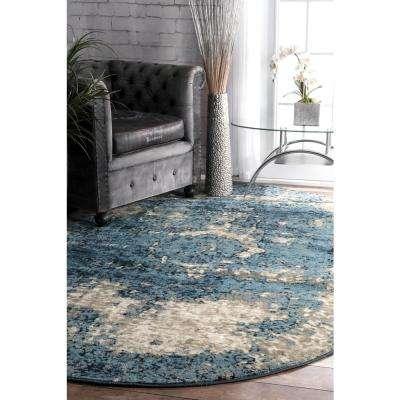 Vintage Lindsy Blue 6 ft. x 9 ft. Oval Area Rug